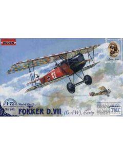 Roden WWI Ernst Udet Fokker D.VII (OAW), Early, Model Kit No 013 1:72 (Pre owned)