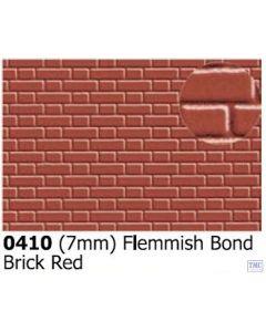 0410 Slaters 7mm Flemish Bond Brick Red 300mm x 174mm Plastikard