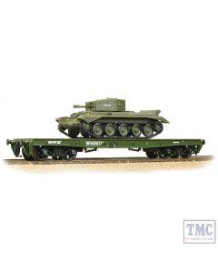 38-725 Bachmann OO Gauge Warflat Bogie Flat Wagon WD Khaki Drab Livery with Tank