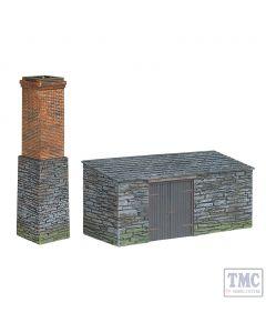 44-0106 Scenecraft OO Gauge Narrow Gauge Slate Built Boiler House and Chimney