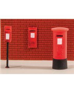 5044 Modelscene OO/HO Gauge Royal Mail post boxes - pack of 6 assorted