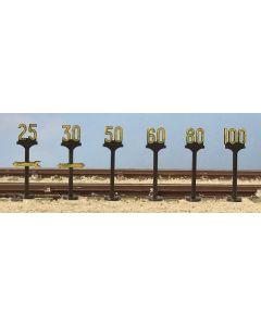 5050 Modelscene OO/HO Gauge Trackside speed signs - pack of six