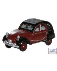 76CT001 Oxford Diecast Charleston Maroon/Black Citroen 2CV 1/76 Scale OO Gauge