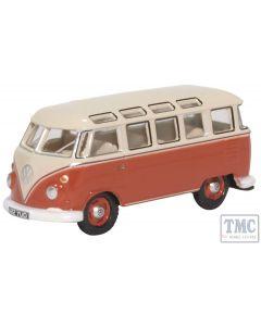 76VWS001 Oxford Diecast 1:76 Scale OO Gauge VW T1 Samba Bus Sealing Wax Red/Beige Grey