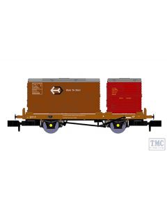 921010 Rapido Trains N Gauge BR 'Conflat P' No. B933417 (with crimson & bauxite containers)