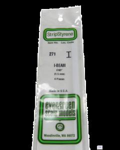 "EG271 Evergreen Plastics 0.060"" 1.5mm I beam section 4 per pack"