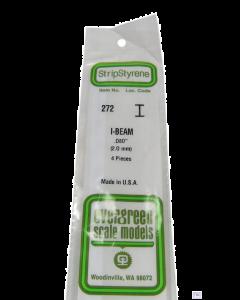 "EG272 Evergreen Plastics 0.080"" 2.0mm I beam section 4 per pack"