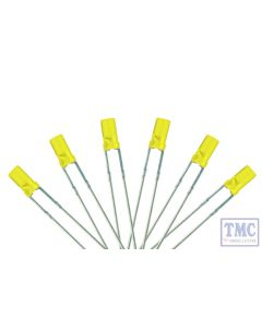 LED-YLF3 DCC Concepts N/TT/HO/OO/O/G Scale Signal Yellow 3mm Flat Front LED w/Resistors (6)