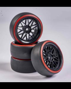 C900157 Carson RC1:10 Wheel Set Drift (4) black/red