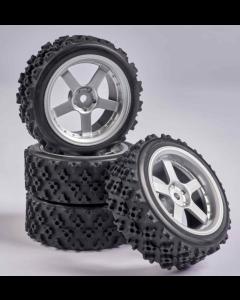 C900166 Carson RC1:10 Wheel Set 5 spk. Rallye (4) silver
