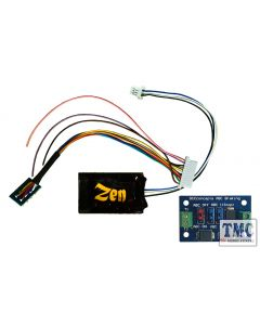DCD-ZNM.HP.6A DCC Concepts Zen Black Decoder. Midi-sized decoder with 8-pin harness. High Power. 6 Functions. Includes 1x ABC mo
