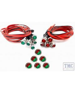 LED-RGCP DCC Concepts Red/Green Chrome-Mounted LED w/resistor and leads