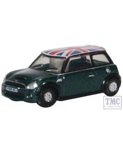 NNMN005 Oxford Diecast 1:148 Scale N Gauge New Mini Cooper S British Racing Green and Union Flag