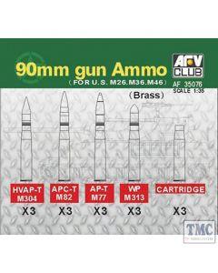 PKAF35076 AFV Club 1:35 Scale 90mm Brass Shells US M26/M36/M46