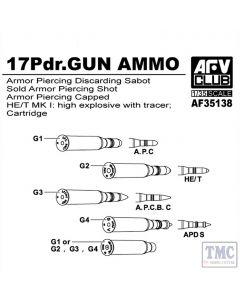 PKAF35138 AFV Club 1:35 Scale British 17 Pdr Gun Ammo (Brass)