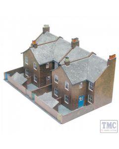 C5 Superquick OO/HO Four Red Brick Terraced Backs - Card Kit