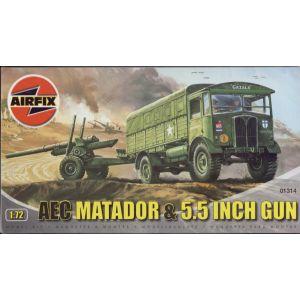 01314 Airfix A.E.C. MATADOR AND 5.5 INCH GUN 1:76 (Pre-owned)