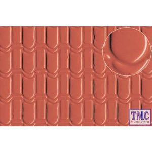 0440 Slaters Pantile Roof Large (for 7mm scale) Red 300mm x 174mm Plastikard