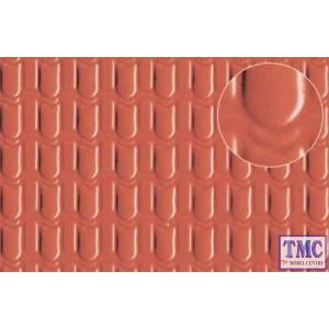 0441 Slaters Pantile Roof Medium (for 4mm scale) Red 300mm x 174mm Plastikard