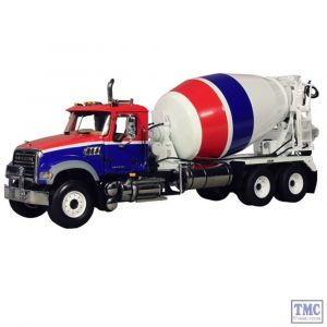 10-3995 First Gear 1:34 SCALE Mack Granite Standard Mixer Red White & Blue