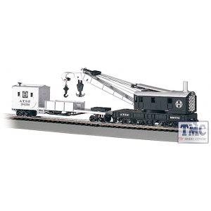 16102 Bachmann OO/HO Scale 250-Ton Steam Crane & Boom Tender - Santa Fe (Black & Silver)
