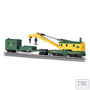 16110 Bachmann OO/HO Scale 250-Ton Steam Crane & Boom Tender - Reading (Green Yellow)