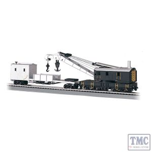 16149 Bachmann OO/HO Scale 250-Ton Steam Crane & Boom Tender - Painted Unlettered (Blk. & Silver)