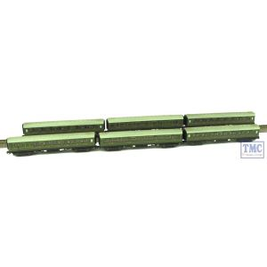 2P-012-252 Dapol N Gauge Maunsell Coach Pack SR Lined Green (6 Coach Set) Weathered by TMC