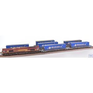 2D-007-011 Dapol N Gauge Class 66 002 EWS/DB Russell Contrainer Train Pack