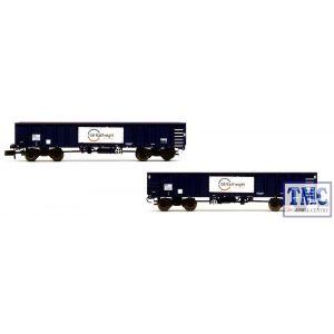 2F-025-006 Dapol N Gauge GBRf MJA Bogie Box Van Twin Set 502025/026