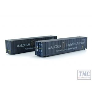 2F-028-014 Dapol N Gauge 45 Ft Container Malcolm Logistics 450012 2 & 450049 9 Weathd