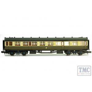 2P-000-158 Dapol N Gauge Collett Coach GWR Crest Chocolate & Cream 3rd Class 1096