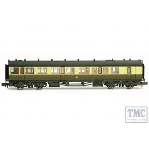 2P-000-282 Dapol N Gauge Collett Coach GWR Crest Chocolate & Cream Brake Composite 6532
