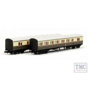 2P-003-006 Dapol N Gauge B Set Coach Pack GWR Cities Choc/Cream 6411/6412