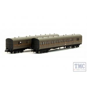 2P-003-008 Dapol N Gauge B Set Coach Pack GWR Twin Cities Bwn/Org Lining 6453/6454