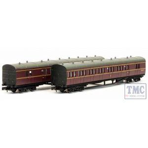 2P-003-016 Dapol N Gauge *B Set Coach Pack BR Lined Maroon 6969/6940