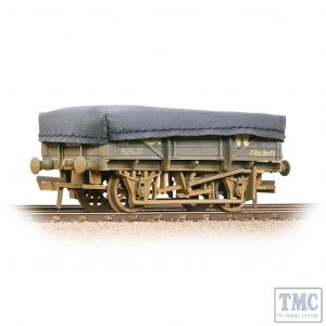 33-088A Bachmann OO Gauge 5 Plank China Clay Wagon GWR Grey With Tarpaulin Cover - Weathered