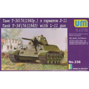 UM 1:72 Tank T-34/76(1940)  with L-11 gun Kit no 336 (Pre owned)
