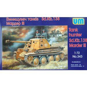 1/72 Sd.Kfz. 138 Marder III German WW II Tank Hunter UM 343 Models kits (Pre owned)