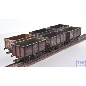 37-265Z Bachmann OO Gauge 16 Ton Mineral Wagon Six Pack BR Grey *TMC Limited Edition* with Deluxe Weathering by TMC