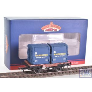 37-978A Bachmann OO Gauge Conflat Wagon BR Bauxite (Early) With BR Ice Blue AF Container