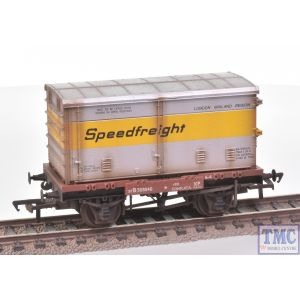 37-991 Bachmann OO Gauge Conflat Wagon BR Bauxite (Early) with Speedfreight Ventilated BA Container Weathered by TMC