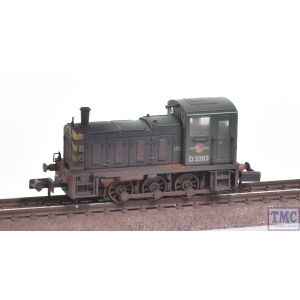 371-063 Graham Farish N Gauge Class 03 D2383 BR Green (Wasp Stripes) Weathered by TMC