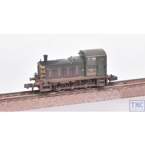 371-063 Graham Farish N Gauge Class 03 D2383 BR Green (Wasp Stripes) - Weathered