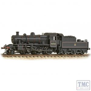 372-629 Graham Farish N Gauge LMS Ivatt 2MT 46460 BR Lined Black (Early Emblem) - Weathered