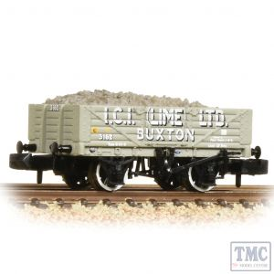 377-031 Graham Farish N Gauge 5 Plank Wagon Steel Floor 'ICI' (Lime) Ltd.' Grey - Includes Wagon Load