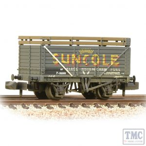377-206A Graham Farish N Gauge 8 Plank Wagon Coke Rails BR P No. (Ex-Private Owner 'Suncole') - Weathered