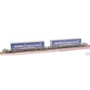 377-353A Graham Farish N Gauge FIA Intermodal Bogie Wagons (with Malcolm Logistics 45ft Containers) Weathered by TMC