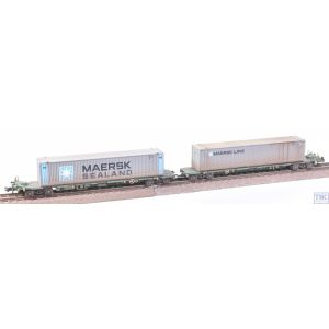 377-369 Graham Farish N Gauge FIA Intermodal Bogie Wagons (with Maersk Line 45ft Containers) Weathered by TMC