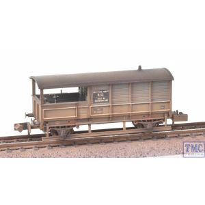 377-376A Graham Farish N Gauge GWR 20T Toad Brake Van BR Grey (Early) with Deluxe Weathering by TMC